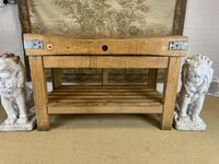 Early 20th c Butchers Block On Pine Stand (5 of 7)