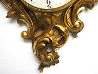 Impressive French Carved Cartel Wall Clock 8 Day Movement Scrolling leaf design 84cm High (12 of 13)