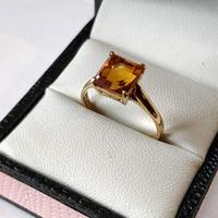 Vintage 9ct Gold Citrine Solitaire Ring Size Q (2 of 8)