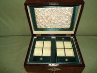 QUALITY Inlaid Figured Walnut Jewellery Box + Tray c.1870 (14 of 14)