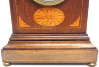 Fantastic French Inlaid Lancet Mantel Clock Multi Wood inlay 8 Day Striking Mantle Clock (5 of 10)