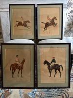 Fabulous Antique Set of Horse Jockey Racing Equestrian Art by Ernest Bodoy
