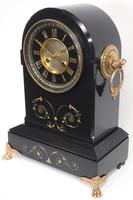 Antique French Slate Mantel Clock 8-Day Arch Top Striking Mantle Clock with Gilt Decoration (8 of 9)