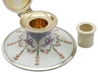 Sterling Silver and Enamel Capstan Inkwell - Antique George V (8 of 15)