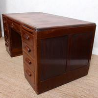 Desk Twin Pedestal Mahogany Leather Art Deco (3 of 12)
