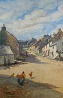 Large Original Edwardian Antique Yorkshire Hamlet Landscape Watercolour Painting (2 of 13)
