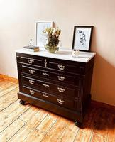French Antique Black Chest of Drawers / Commode / White Marble 19th Century (4 of 5)