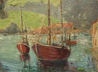 Large Framed Oil Painting of Boats at Totnes by Dorothy Bradshaw (8 of 13)