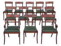 Set of 12 Regency Mahogany Dining Chairs 19th Century