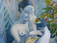 Watercolour Nude with Cat Listed Artist James Gorman (12 of 14)