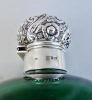Very Large Victorian Silver Mounted Bristol Green Glass scent bottle by Cooper & Co, Birmingham 1899 (3 of 6)