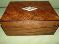 QUALITY Inlaid Figured Walnut Jewellery Box + Tray c.1870 (9 of 14)
