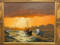 """Seascape Oil Painting """"St Ives Fishing Boat"""" Off Cornwall Coast by Keith English (2 of 36)"""