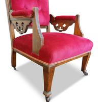 Two Arts & Crafts Fireside Chairs on Castors (9 of 13)