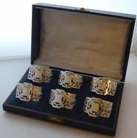 Boxed Set of 6 Sterling Solid Silver Napkin Rings Serviette Ring 173g c.1940