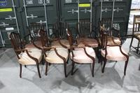 1960s Set 8 Mahogany Shieldback Carver Chairs Pale Pink (2 of 4)