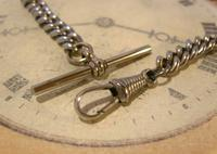Antique Pocket Watch Chain 1890s Victorian Steel Albert With Horses Snaffle Bit (9 of 12)
