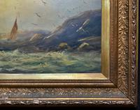 19thc (British School) Fishing Boats In Rough Seas Oil On Board Painting (11 of 13)