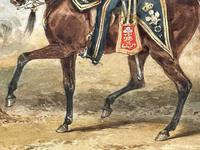 Military Watercolour Prince of Wales Own 10th Royal Hussars Guard on Horseback by Henry Martens c.1850 (13 of 53)