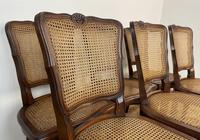 Vintage French Louis Style Set Of 6 Cherry Wood Bergère Cane Dining Chairs (6 of 10)