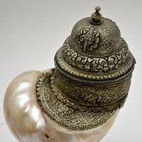 Antique Anglo Indian Silver Mounted Nautilus Shell Cup (16 of 21)