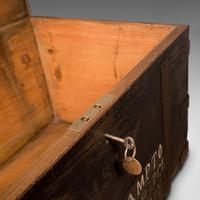 Antique Steamer Trunk, English, Pine, Iron, Carriage Chest, Victorian c.1860 (11 of 12)
