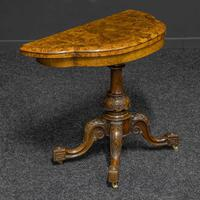 Victorian Burr Walnut Card Table with Green Baize