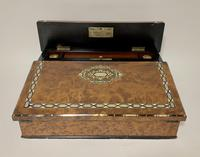 Antique Amboyna Mother of Pearl Inlaid Writing Slope Lap Box (3 of 19)