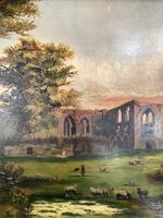 Antique Landscape Oil Painting of Ruined Gothic Abbey with Sheep Signed FCH (4 of 10)