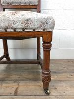 Pair of Antique Victorian Gothic Oak Chairs with Floral Upholstery (8 of 10)