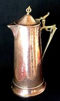 Large Arts and Crafts Copper and Brass Planished Jug C1890