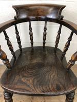 Antique Beech & Elm Smoker's Bow Armchair (4 of 9)