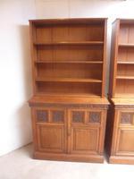 Amazing Matching Pair of Carved Victorian Golden Oak Adjustable Bookshelves (4 of 9)
