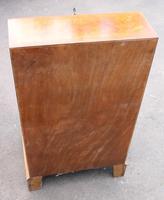 1960s Small Serpentine Front Burr Walnut Ladies Bureau + Key (5 of 5)