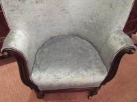 Early Victorian Antique Porter's Barrel Back Wing Armchair (5 of 6)