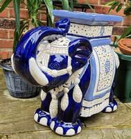 Mid 20th Century French Ceramic Hand-painted Elephant-form Garden Seat (3 of 9)
