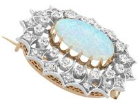 2.99 ct Opal and 0.96 ct Diamond, 9 ct Yellow Gold Brooch - Antique Victorian (7 of 9)