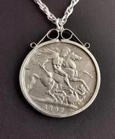 Victorian Silver Crown Pendant, Coin Necklace (6 of 11)