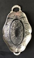 Silver Plated Serpentined  Two Handle Galleried Tray (4 of 8)