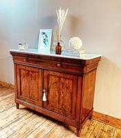 Antique French Flamed Mahogany Sideboard / Cupboard / Marble Linen Cabinet (2 of 4)