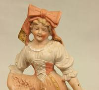 Pair of Bisque Figurines of Young Girl & Boy. (4 of 9)