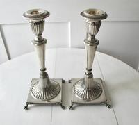 Italian Pair of Silver Neo-classical Design Three-light Table Candelabra, Florence c.1945 (6 of 13)