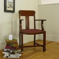 Attractive Arts & Crafts Oak Library Chair (3 of 14)