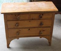 1900's Neat Small Rustic Pine Chest Drawers 2 over 2.