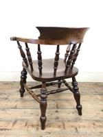 19th Century Ash and Elm Smoker's Bow Chair or Captain's Armchair (9 of 11)