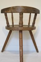 Scandinavian / Swedish 'Folk Art' Blekinge chair, three-legged, curved back & circular seat c.1850 (17 of 31)
