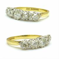 Vintage 18ct Old Mine Cut Diamond Five Stone Ring 1.35ct (5 of 10)