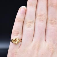 Vintage Round Citrine Solitaire 9ct 9K Yellow Gold Ring (8 of 10)
