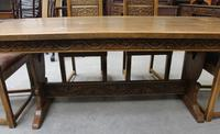 1900's French Oak Refectory Table with Set 6 Oak Chairs +Leather Embossed Seats. (5 of 9)