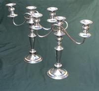 Pair of Edwardian Silver Plate on Copper Three Branch Candelabra (5 of 8)